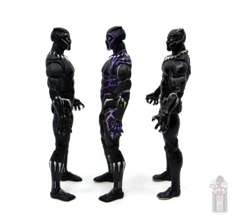 marvel legends black panther vibranium effect figure review - facing other two black panther figures