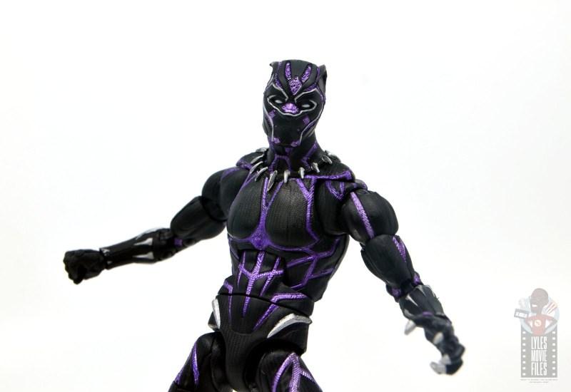 marvel legends black panther vibranium effect figure review - front detail