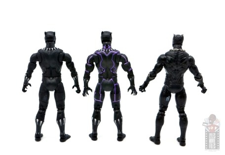 marvel legends black panther vibranium effect figure review - rear of three black panthers