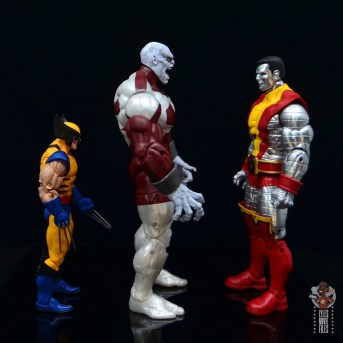 marvel legends build a figure caliban figure review - facing wolverine and colossus