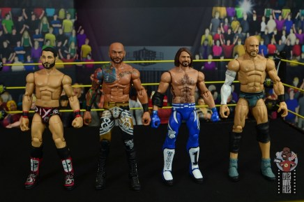 wwe elite 69 ricochet figure review - scale with johnny gargano, aj styles and cesaro