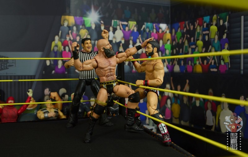 wwe elite 69 tommaso ciampa figure review - fighting johnny gargano on the ring apron