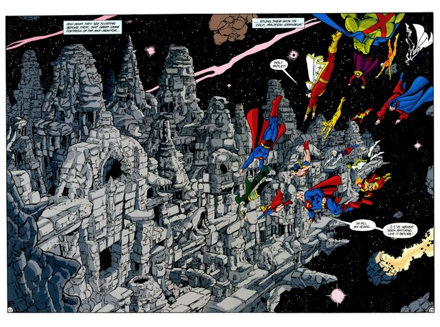 crisis on infinite earths #7 - heroes descend on anti-monitor's base