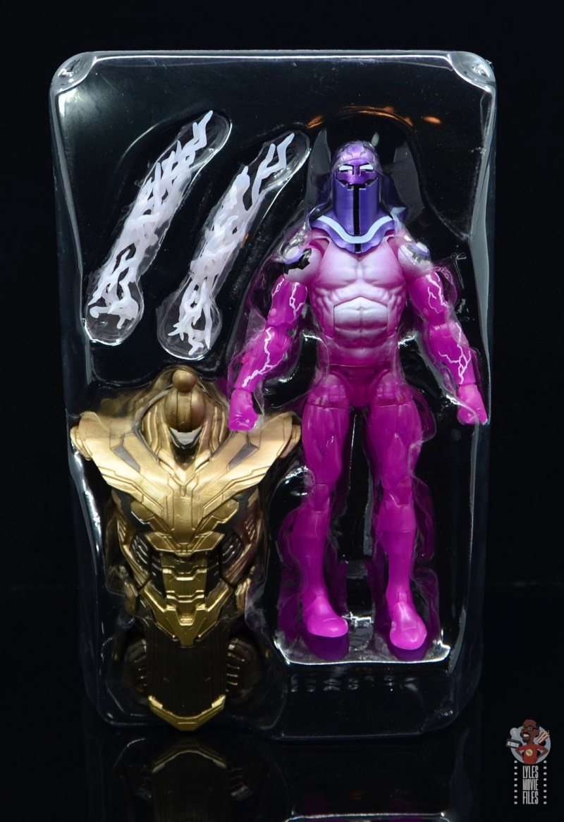 marvel legends living laser figure review - accessories in tray