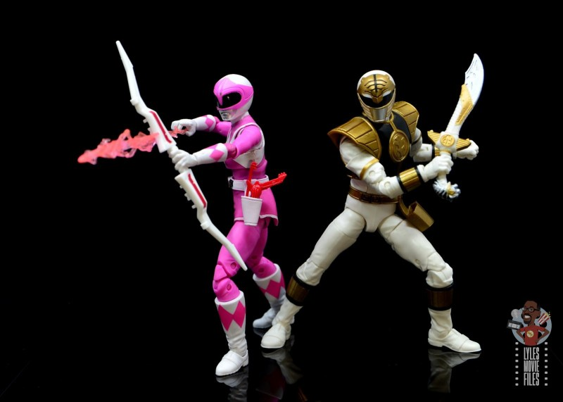 power rangers lightning collection pink ranger figure review -in action with white ranger