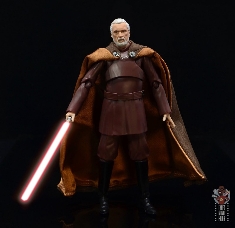 sh figuarts count dooku figure review -ready for a duel with lit lightsaber