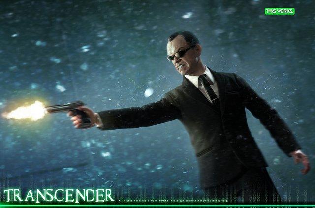 transcender the matrix agent smith figure - aiming in the rain