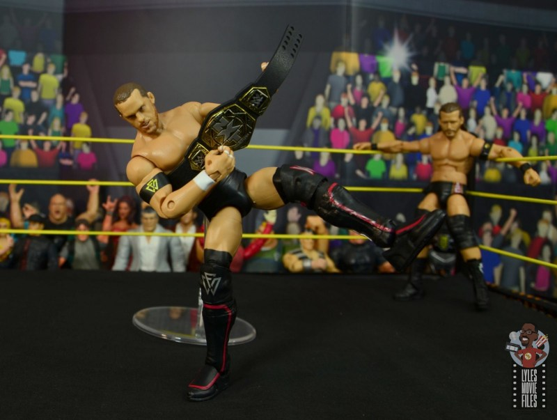 wwe elite undisputed era figure set review - kyle o'reilly -playing guitar on tag title