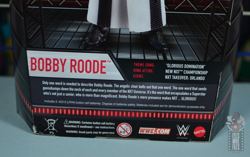 WWE Entrance Greats Bobby Roode figure review - package bio