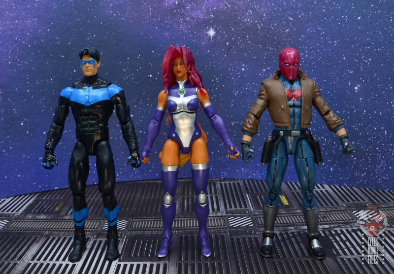dc multiverse starfire figure review - scale with nightwing and red hood