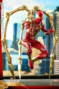 hot toys spider-man iron spider armor figure - balancing on iron arms