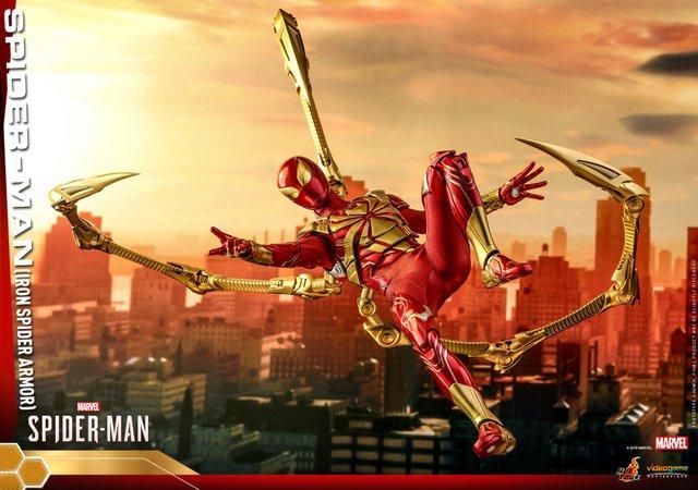 hot toys spider-man iron spider armor figure - web slinging