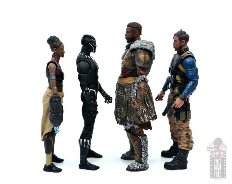 marvel legends m'baku figure review - facing shuri, black panther and killmonger
