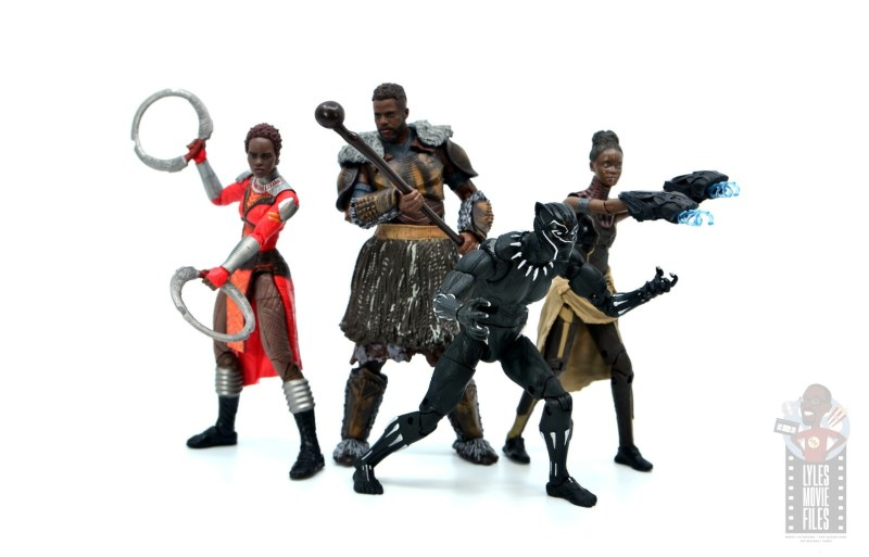 marvel legends m'baku figure review - with nakia, black panther and shuri