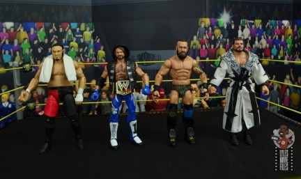 wwe elite 65 eric young figure review - scale with samoa joe, aj styles and bobby roode