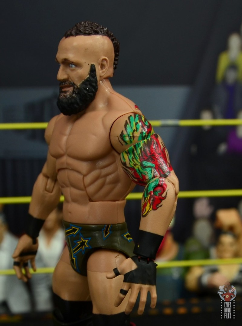 wwe elite 65 eric young figure review - tattoo close up