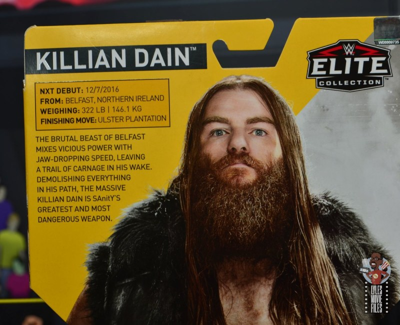 wwe elite killian dain figure review - package bio