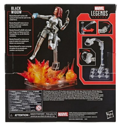 Black Widow Marvel Legends 6-Inch Deluxe White Costume Action Figure with Stand - package rear