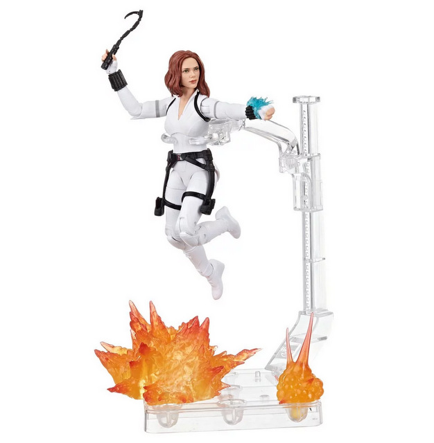 Black Widow Marvel Legends 6-Inch Deluxe White Costume Action Figure with Stand - on stand