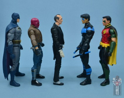 dc multiverse alfred figure review - facing dc essentials batman, multiverse red hood, nightwing and red robin