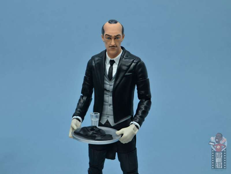 dc multiverse alfred figure review - holding mask and glass on tray