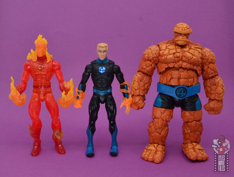 marvel legends human torch figure review - scale with human torch and the thing