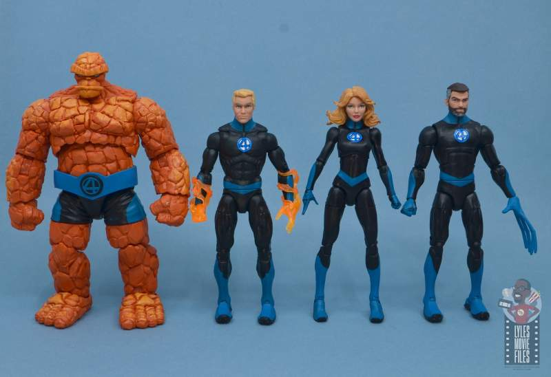 marvel legends invisible woman figure review - scale with thing, johnny and reed
