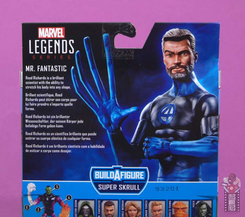 marvel legends mister fantastic figure review - package bio