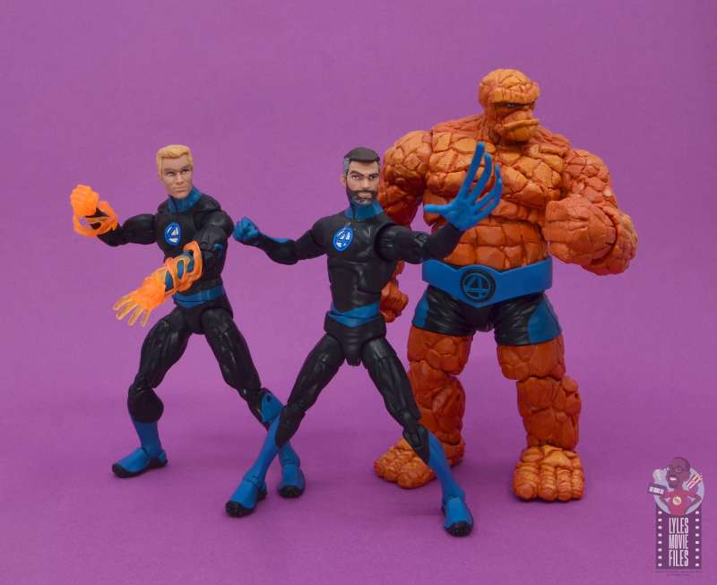 marvel legends mister fantastic figure review - with johnny and the thing