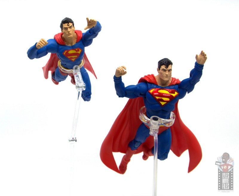 mcfarlane toys dc multiverse superman figure review - flying comparison with dc essentials superman