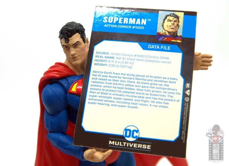mcfarlane toys dc multiverse superman figure review - holding file card