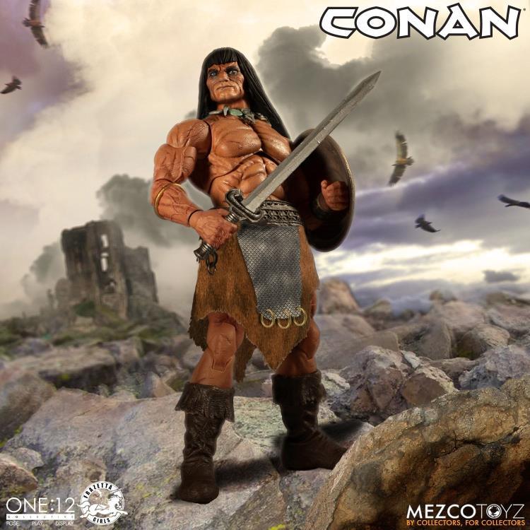 mezco toyz one 12 conan figure -on mountaintop