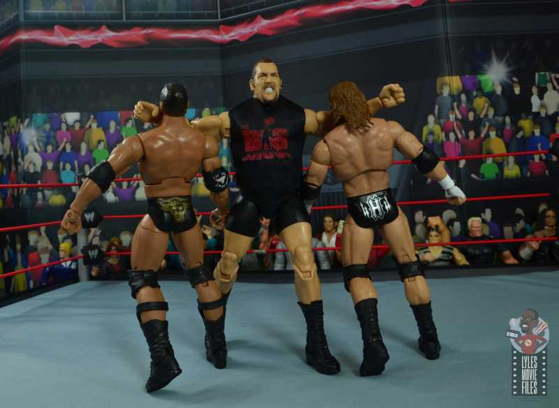 wwe elite 71 the big show figure review - double clothesline to the rock and triple h