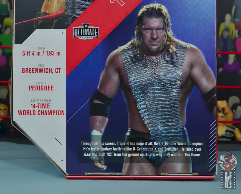 wwe ultimate edition triple h figure review - package bio