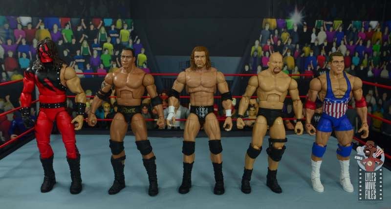 wwe ultimate edition triple h figure review - scale with kane, the rock, stone cold and kurt angle