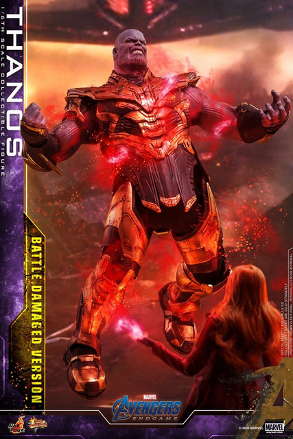 hot toys avengers endgame thanos battle damaged figure - vs scarlet witch