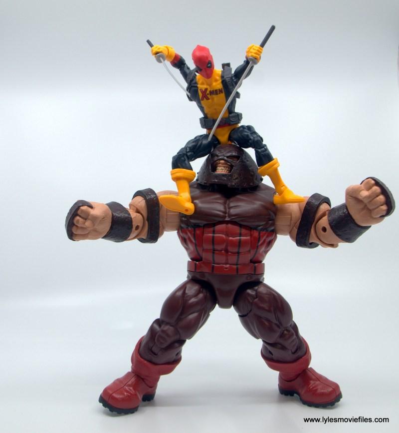 marvel legends deadpool figure review - about to stab juggernaut