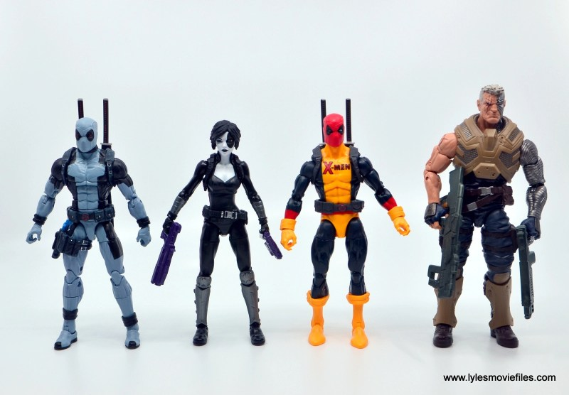 marvel legends deadpool figure review - scale with x-force deadpool, domino and cable