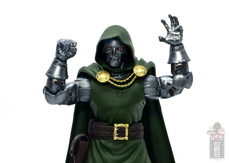 marvel legends doctor doom figure review - raising arms