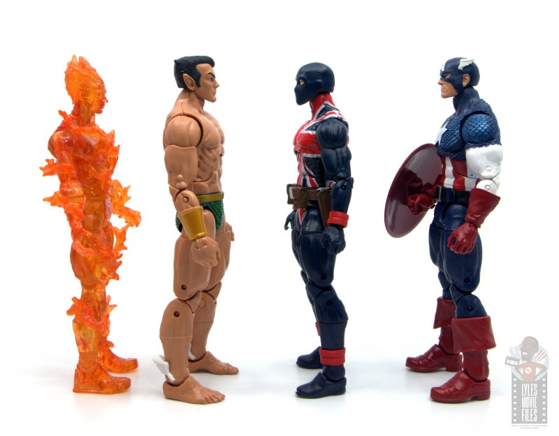marvel legends union jack figure review - facing human torch, sub-mariner and captain america