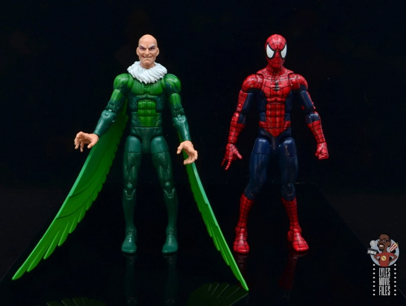 marvel legends vulture figure review - scale with spider-man