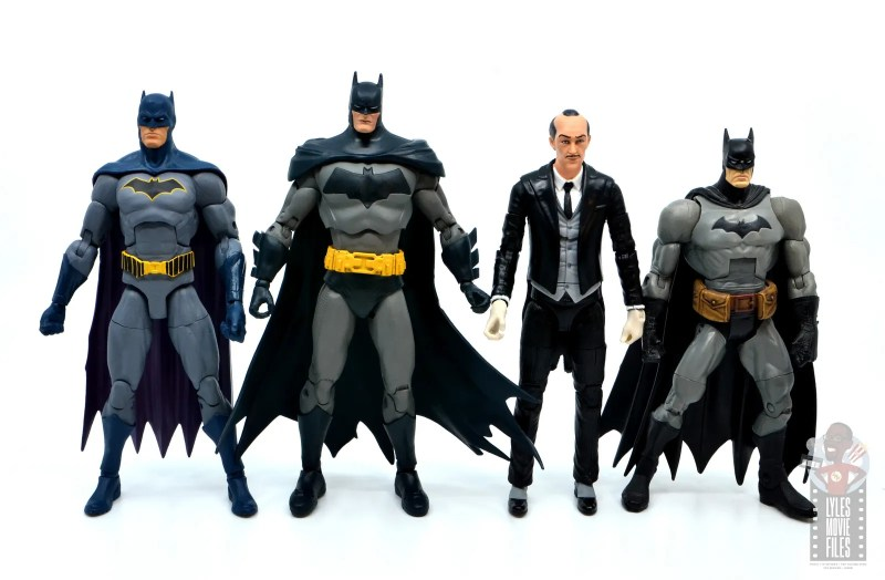 mcfarlane dc multiverse baman figure review - scale with dc essentials batman, alfed and dc classics batman