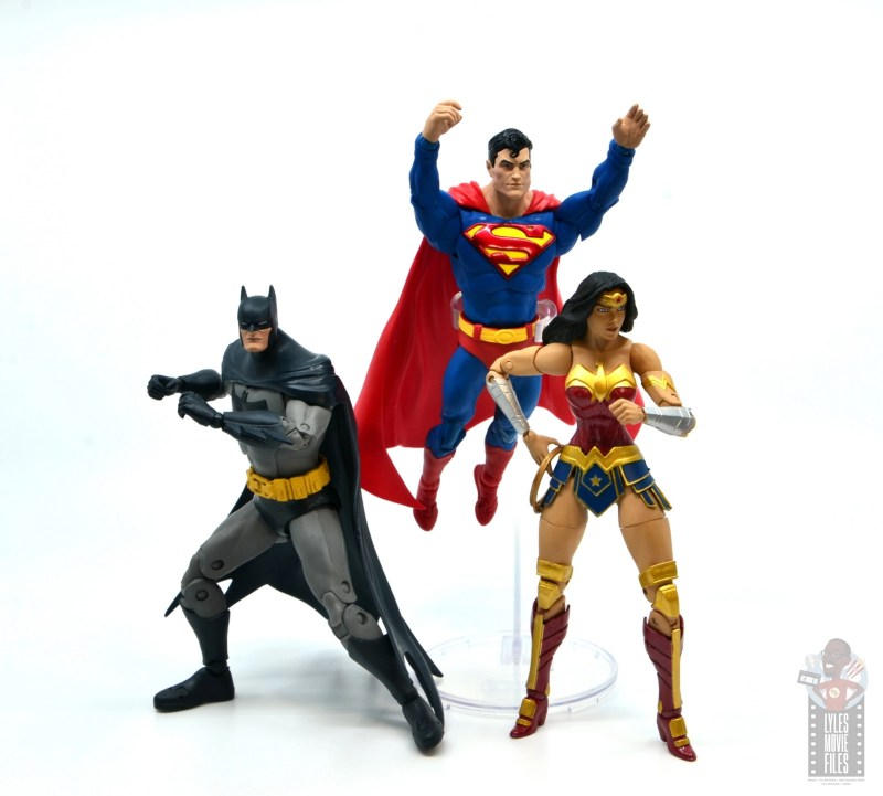 mcfarlane dc multiverse baman figure review - with superman and dc essentials wonder woman