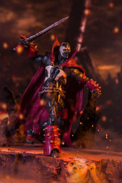 mcfarlane toys -mortal kombat 11 spawn figure running in battlefield