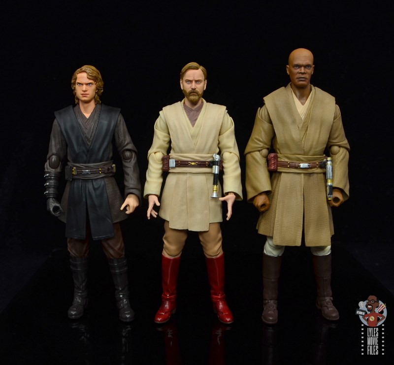 sh figuarts obi-wan kenobi revenge of the sith figure review - scale with anakin and mace
