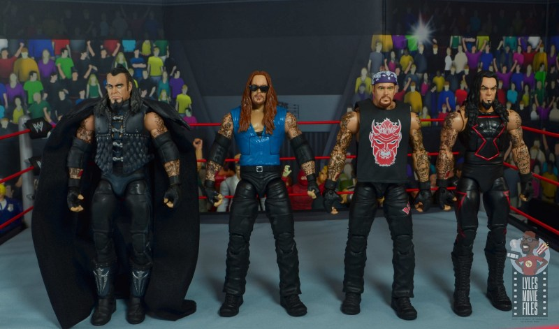 wwe elite 68 american badass undertaker figure review - scale with ministry of darkness, red devil and unholy alliance undertakers