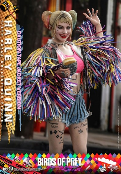 hot toys birds of prey harley quinn figure - waving with burger