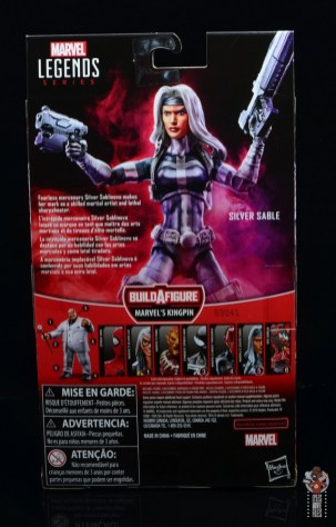marvel legends silver sable figure review -package rear