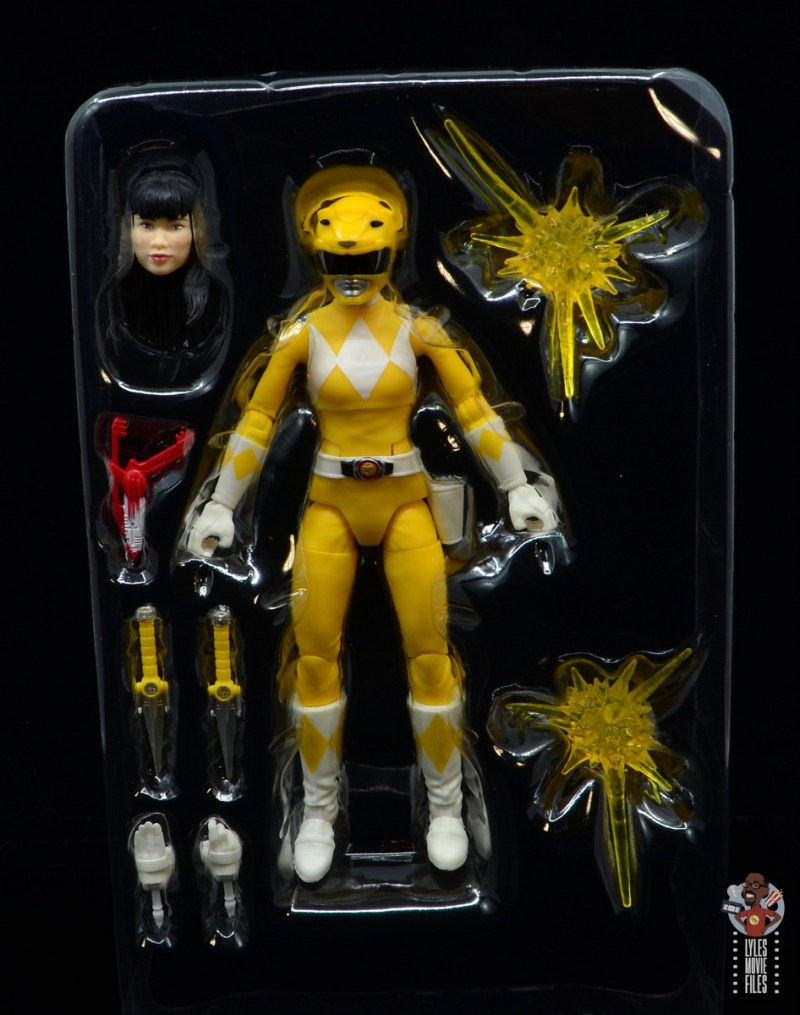 power rangers lightning collection mighy morphin yellow ranger figure review - accessories in tray