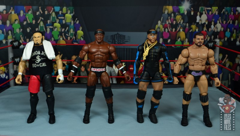wwe elite 69 bobby lashley figure review - scale with samoa joe, mvp and bobby roode